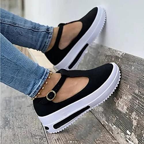 Sandali da Donna Estivi Scarpe con Zeppa Vintage Donna Cinturino con Fibbia Paglia Fondo Spesso Sandali con Plateau Sandalo Floccato