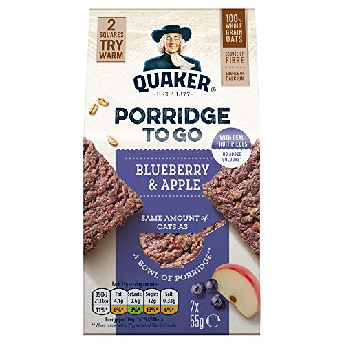 Quaker Porridge To Go Breakfast Squares Apple & Blueberry, 55g