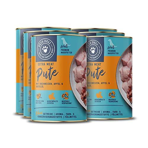 Nassfutter für Hunde   Pute mit Buchweizen, Apfel, und Distelöl   4,8 kg - 6er-Pack