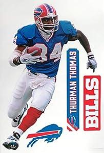 "Thurman Thomas FATHEAD Graphic + Buffalo Bills Logo Set Official NFL Vinyl Wall Graphics 17"" INCH"