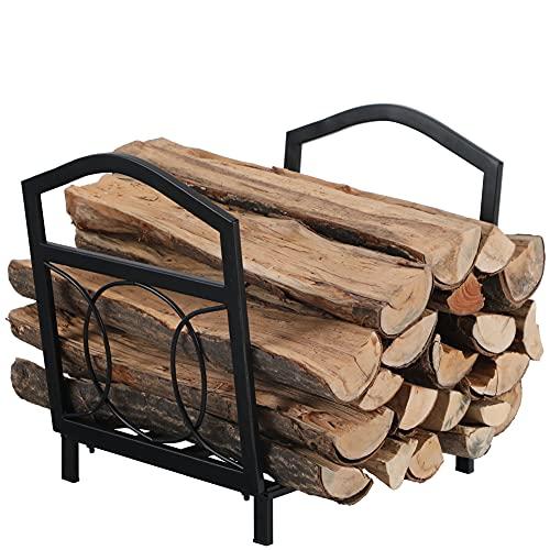 PHI VILLA 17 Inch Small Firewood Log Rack Decorative Indoor/Outdoor Steel Wood Storage Log Rack Wood...