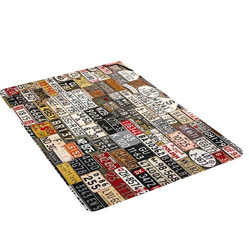 XMHZSB Deurmat antislip katoenen deurmat eenvoudige modder slippers pad ingang duurzame mooie chique tapijt schoenen schraper vloer indoor essentials -50 * 80cm (retro kentekenplaat)