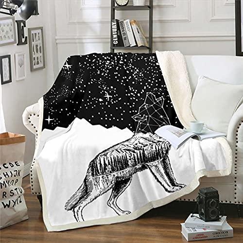 Erosebridal - Manta de forro polar con diseño de lobo y lobo en color negro, para niños y niñas, diseño abstracto de animales...