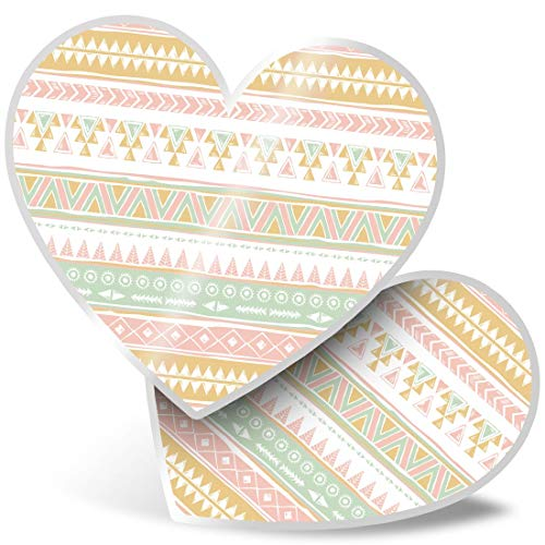 2 x Heart Stickers 10 cm - Navajo Aztec Geometric Surf Fun Decals for Laptops,Tablets,Luggage,Scrap Booking,Fridges #12688
