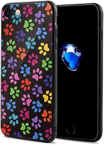 Schutzhülle für iPhone 7/8, mit Hundepfoten-Motiv, dünn, flexibel, weich, TPU, stoßfest, kratzfest, Rot