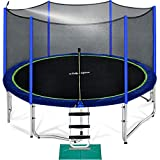 Zupapa 15 14 12 10 ft Outdoor Trampoline with 425lbs Weight Capacity for Kids Adults,Trampolines with Sprinkler Safety Enclosure Net