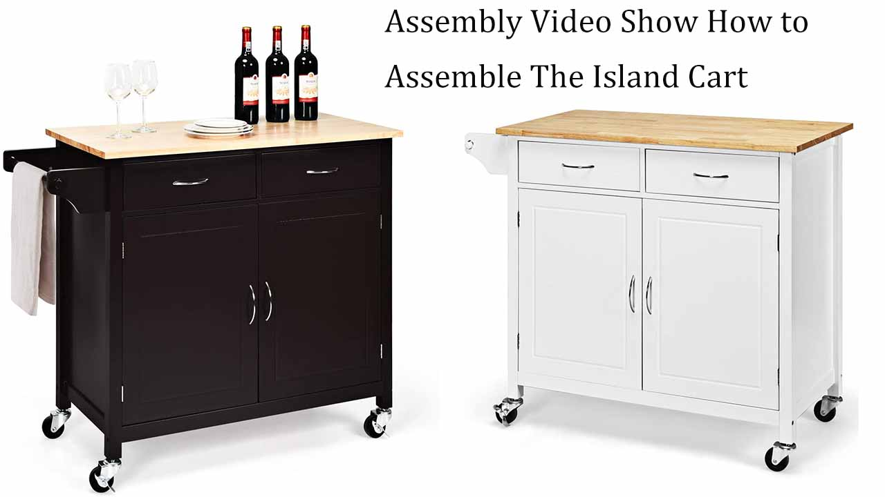 Giantex Portable Kitchen Rolling Island Cart Wood Table Top Island Serving Utility Kitchen Storage Trolley Carts W…