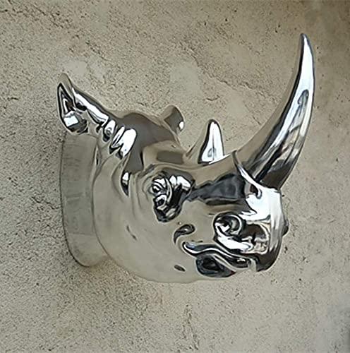 LGR Estatuas Figuras Esculturas, Color Plateado Estatua de Rinoceronte Una Escultura de Animal Grande Cabeza Colgante Mural Muebles para el hogar Arte Decorativo Club Hall Ktv Traje Suave Escultura t