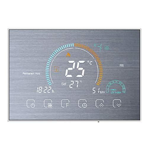Decdeal 1Termostato WiFi per Caldaia a Gas Controllo App Vocale/LCD Retroilluminato Visualizzazione dell'umidità e UV,Termostato Programmabile Compatibile con Alexa Google Home,BHT-8000-GC (D'argento)