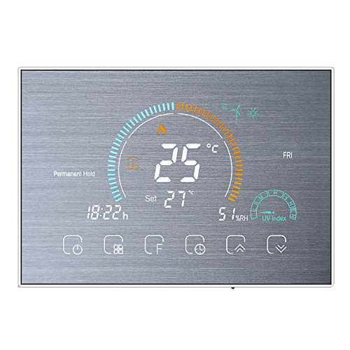 Decdeal - Termostato wifi para calefacción de gas, control de voz mediante aplicación, pantalla LCD retroiluminada, visualización de humedad y UV, programable y compatible con Alexa y Google Home