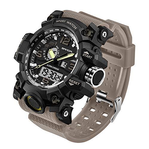 Taffstyle Herren-Armbanduhr Digital mit Silikon-Armband Chronographen Wasserdicht Stopp Alarm Flieger Piloten Uhr Sportuhr Quarz Beige