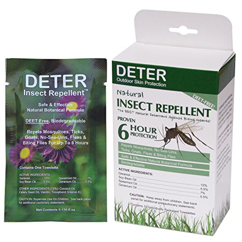 Deter Natural Insect Repellent Wipes 10 Towelettes