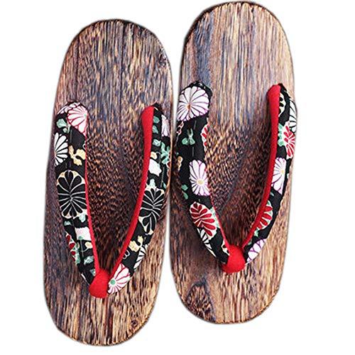 Fancy Pumpkin Zapatos tradicionales japoneses Zapatillas de cosplay Sandalias de madera Zueco Geta para mujeres, B-14