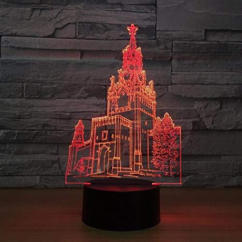 Campanario Creativo 3D Lámpara Dormitorio Lámpara De Noche Acrílico Colorido Led Luz Nocturna Encantadora 7 Cambio De Color Lámpara 3D