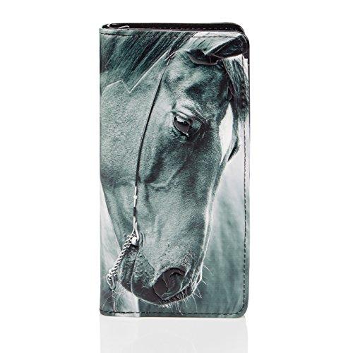 Shagwear Portafoglio per Giovani Donne, Large Purse : Diversi Colori e Design: (Cavallo/Horse)