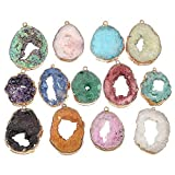 5 Pcs natural stone pendants irregular gold-plated edge crystal agate stone charms for jewelry making DIY necklace charms 25X30-35X45mm