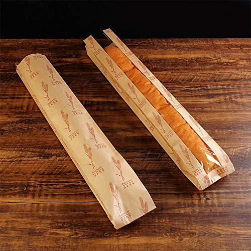 FJROnline - Bolsa de papel kraft para pan, 50 unidades, con ventana y diseño de trigo sano 10 * 59 * 4CM B