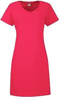 LAT Women's Fashionable Topstitch Ribbed Dress T-Shirt