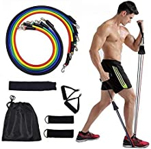 Resistance Bands Set, 11 Pcs Fitness Resistance Band Set, with Stackable Exercise Bands Legs Ankle Straps workout training...