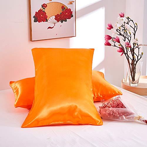 NIBESSER Satin Kissenbezüge 40x80cm 2 Stück Kopfkissenbezüge Kissenhülle aus hochwertige Mikrofaser für Haar- und Hautpflege (orange, 50 * 75cm)