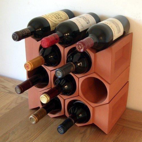 Juego de estantes para botellas de vino y piedras angulares  10 piezas en terracota