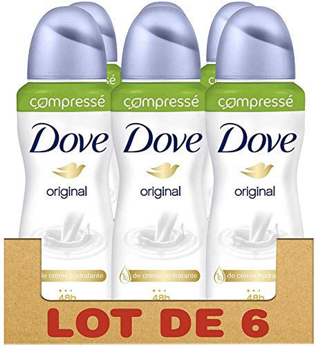 Dove Original Déodorant Femme Spray Compressé Anti-Transpirant, Efficace 48h Anti-Irritations (Lot de 6x100ml)