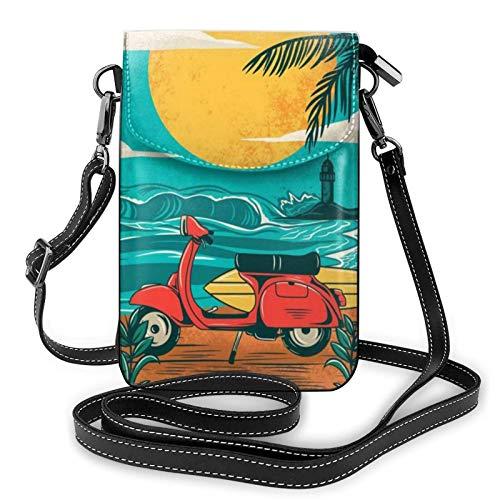 AOOEDM Small Cell Phone Purse Crossbody Cell Phone Purse Sunset Beach Palm Tree Small Crossbody Bags Women Pu Shoulder Bag Handbag