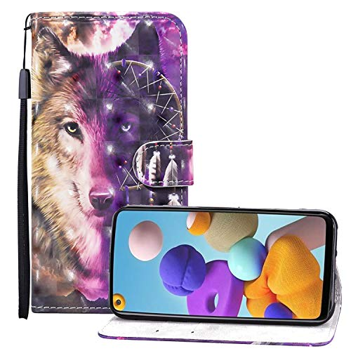Nadoli 3D Effect Wallet Case for iPhone 12 Pro 6.1',Cool Wolf Dreamcatcher Design Pu Leather Magnetic Closure Wrist Strap Handbag Flip Case Cover with Stand Function