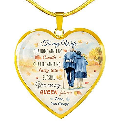 A Mi Esposa Te Amo A La Luna Y A La Espalda Corazón Colgante Collar Romántico Aniversario Regalo De Cumpleaños A Esposa De Esposo Longitud De Cadena 60 Cm