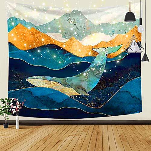 JOLIGAEA Paesaggio Naturale Verniciato HD Arazzo,Grande Arazzi da Parete Psichedelico della Montagna del Mare,Arazzo con Paesaggi Naturali,Decorazione Domestica,210x150 cm,Caduta delle Balene