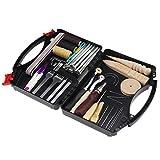 Kit de herramientas de artesanía en cuero, 59 piezas, con caja de almacenamiento para costura de punzonado, corte de costura, regalo principiante