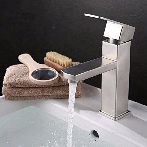 HQLCX Robinets de lavabo 304 Stainless Steel Pan Robinet d'eau Chaude T¨¦tragonaux Lavabo Robinet