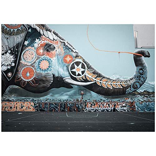 ASLKUYT Graffiti de elefante en la pared de una cancha de baloncesto Graffiti Art Canvas Painting Posters and Prints Wall Canvas Art Home Decor-24x36 IN Sin marco