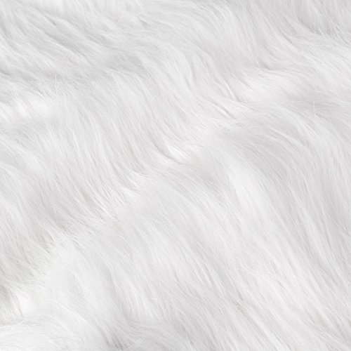 Surepromise Kunstfell Lammfell Schaffell Sofa Teppich Weiß 155x50cm Dekofell Lammfellimitat Longhair Fell Optik