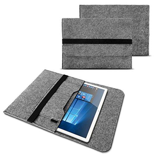 NAUC Sleeve Hülle für Tablet Notebook Tasche Laptop Cover strapazierfähiger Filz mit Innentaschen & sicherem Verschluss Grau, Tablet Modell für:ODYS Neo Quad 10, Farben:Hell Grau