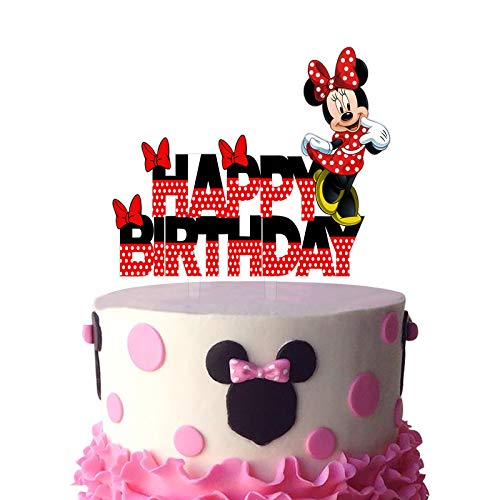 Black and Red Acrylic Minnie Mouse Happy Birthday Cake Topper, Minnie Mouse Cake Topper, Minnie Mouse Birthday Party Decoration, Girls Bday Party Favor