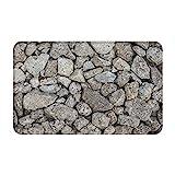 CONICIXI Felpudo Entrada Casa Rectangular Muro de Piedra Natural Gris Impermeable Antideslizante Lavable Alfombra para Interior y Exterior 50x80cm