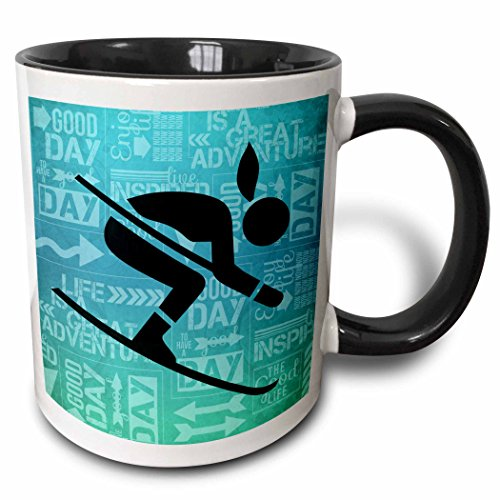 3dRose Downhill Skier Silhouette In Blue Hues With Adventure Word Art Two Tone Mug, 11 oz, Multicolor