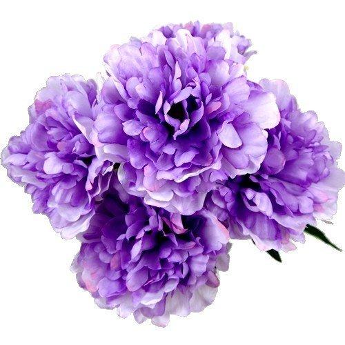 fs 44 cm arbusto artificial de color lila peonía rosa con 5 grandes cabezales de flores de 12,7 cm – jardín en casa