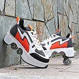 ZCXBHD Zapatos Multiusos 2 En 1 Botas Ajustables para Patines De Cuatro Ruedas Zapatos para Caminar Adecuados para Patinar Fiestas Niños Adultos,Orange-39