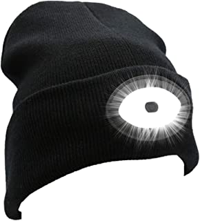 Joynest 12 Led Rechargeable Beanie Hat Lighting and Flashing Alarm Modes Hands Free Headlamp Beanie Cap with USB Rechargea...