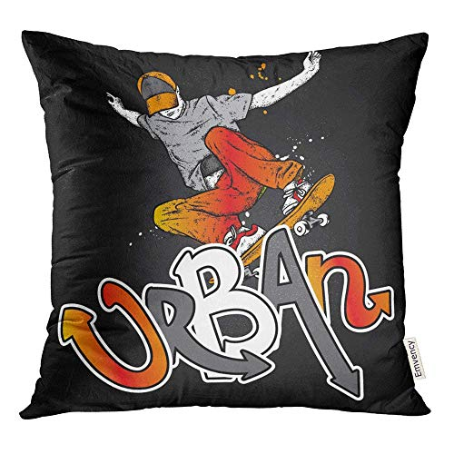 Throw Pillow Covers Decorative Cases Boy Stylish Skater In Jeans and Sneakers Skateboard for Street Cultures Accessories 18x18 Inch Cover Cushion Pillowcase Square Case Print
