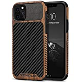 TENDLIN Compatible with iPhone 11 Pro Case Wood Grain with Carbon Fiber Texture Design Leather Hybrid Case
