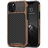 TENDLIN Cover iPhone 11 PRO Legno con Carbonio e Pelle Custodia Compatibile con iPhone 11 PRO (Nero)
