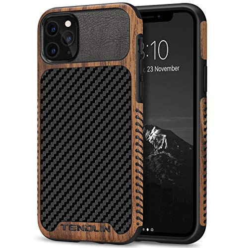 TENDLIN Kompatibel mit iPhone 11 Pro Max Hülle Holz & Carbon Textur Design Leder Hybrid Handyhülle (Schwarz)