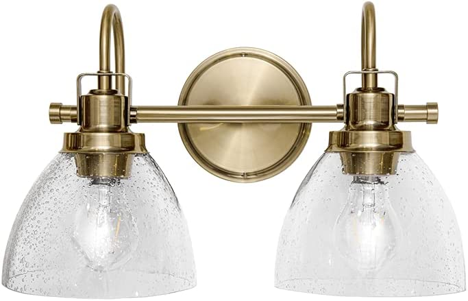 Limited price sale Homenovo Lighting Marden 2-Light Vanity Seeded with Light In a popularity Glass