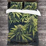 LINARUBE Juego de Ropa de Cama-Hierba Verde Cannabis Bud Marihuana Plantas Marihuana Sativa Cáñamo Indica Cultivo Granja,Juego de Funda Nórdica y 2 Funda de Almohada(Super 220x260cm)