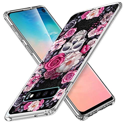 Lajeri Kompatibel Mit Galaxy S10 Plus Hülle,Halloween Totenkopf Transparent Handyhülle Klar Silikon Hülle Ultra Dünn TPU Schutzhülle Blume Muster Bumper Cover