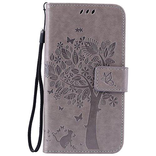 Lomogo LG K8 (K350N) / K7 (X210) Hülle Leder, Schutzhülle Musterprägung Brieftasche mit Kartenfach Klappbar Magnetverschluss Stoßfest Kratzfest Handyhülle Case für LG K8 / K7 - EKATU23849 Grau