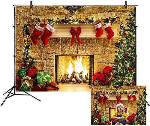 LB 210x150cm Vinilo Navidad Fondo Chimenea,Árbol De Navidad,Pared De Ladrillos Fondo de Fotografia para Estudio Fotográfico, Cristiano Tema Partido Decoración,Personalizado